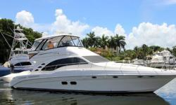 This beautiful58Sedan Bridgehas been very well maintained by her owner with an open checkbook policy. Its bold, dynamic styling includes a fiberglass hardtop, bridge air conditioning,hydraulic swim platform,yacht