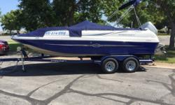 Honda 225hp 4s, Trailmaster trailer, cover Hull color: Blue/White Boat cover; Bimini top;