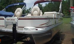 """Trailer, bimini, stereo and cover included. In dash depth finder. Stock ID: 1040Specs Length Overall (LOA): 20' Length on Trailer: 27'4"""" Width on Trailer: 102"""" Deck Width: 8' 6"""" Beam: 102 Log Size: 23"""" x 25"""" Pontoon Gauge: 20' Nose Cone Gauge: .100"""