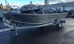 SOLD The boat we have in stock is powered by a Yamaha 80hp jet motor. The boat also comes with a 6hp Nissan kicker. The options include a Garmin fish finder/GPS, 2 Scotty manual downriggers, rod holders, guide seat, mooring cover, and a galvanized trailer