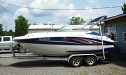 20 Ft Deck Boat, 2010 150 HP Yamaha F150TXR 4-Stroke with 111 hours, Bimini Top, Full Custom Boat Cover, Bow Splash Cover, Lowrance M68c 5Map combo unit, Sony Stereo, Dual Batteries with Switch, Docking lights, Hydraulic Steering, Porta Potti, Fresh Water