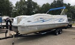 TRI TOON, 225HP HONDA ,TANDEM TRAILER, COVER, UPGRADED STEREO SYSTEM WITH SIRIUS RADIO, GPS, DOUBLE BIMINI, DUAL SWIM STEPS ON BACK Nominal Length: 25' Length Overall: 26' Engine(s): Fuel Type: Other Engine Type: Outboard Beam: 8 ft. 6 in.