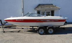 2010 Stingray 195 LR equipped with Volvo 4.3 220 hp inboard/outboard motor. Boat includes bimini top, snap cover, extended swim platform, bolster seats, rear ladder, Faria depth gauge, radio with 4 speakers, fixed trim tabs, tilt & trim button on transom