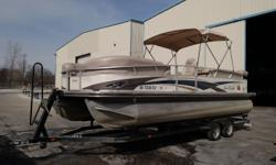 This 2010 Party Barge 25 Regency is powered with a 90 Mercury with 226 hours. It comes complete with a double axle trailer and a new bimini top. The boat seats are in good shape some small dents are in some of the paneling. This boat is priced aggressive