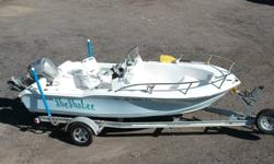 Complete with Boat Cover, Motor Cover and Single Axle Aluminum Trailer with Spare. Engine(s): Fuel Type: Gas Engine Type: Outboard Quantity: 1