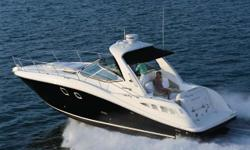 The 350 Sundancer proves that Sea Ray is always pushing into new and rewarding territory. Four oversized hull windows contribute to enhanced interior visibility and ambient light. There is a clever aft-facing transom seat, optional cockpit barbecue and