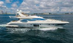 100k Price Reduction - September 21st.  2011 Azimut 70 Flybridge Motor Yacht 2 SeaKeeper Stabilizers 1360 HP MANs - 1000 Hour Service Complete Brand New Exterior Upholstery. Upgraded Crocodile Leather Interior Package. Brand New Carpet