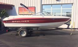 Pre-owned 2011 Bayliner 185 in excellent condition! Includes Mercruiser 3.0L MPIC (fuel injected) engine, power steering, trailer with swingaway tongue, bimini top, trailerable mooring cover, & stereo. Upholstery & carpet in really good