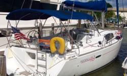 This Beneteau Oceanis 40 features a self-stacking full-batten mainsail with lazy jacks, and a roller-furling genoa. All sail control lines are led aft to the cockpit for safety and convenience, and the dual helm stations provide excellent visibility. The