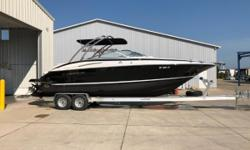 Bring your friends and family on the waters of Lake Erie in style! The sleek, black look on this Crownline is sure to be a showstopper. Sit comfortably on the bow seating while sipping on a cold drink from the cockpit wet bar. Certified Trade w/ Warranty
