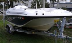 JUST HAD A FULL DETAIL!!!!!!!!!!! Powered by a Mercury 115hp 4 stroke with only 101 hours. She comes complete with Bimini Top, Full Mooring Cover, Fish Package with Livewell and Fighting Chair, Ski-Tow Bar, Bow and Stern Boarding Ladders. In Good