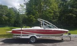 AMAZING BOAT!!! New Motor (88 hours) This boat is just fun to drive!! Perfect for skiing and playing on the water. Features: Mini-Tower, Red Bimini Cover (not shown), Tarp, and Trailer There is some minor damage to the trailer wheel well. Holding tank