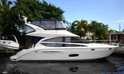 Very clean 391 Meridian, well maintained cosmetically and mechanically Recently bottom painted November 2018 New Canvas and Isinglass October 2018 Bow and Stern Thruster Joystick Navigation   Nominal Length: 39' Length