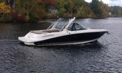 This is the PERFECT lake boat! 2011 Sea Ray 270 SLX powered by a MerCruiser 350 Mag with 285 hours delivering 300 HP.  Features include Snap-In Carpet, Sport Arch with Bimini, Walk Thru with Sun Lounger, Captains Choice Exhaust, Vacu Flush Head,