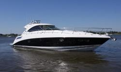 This 2011 540 Sundancer is powered by the preferred upgraded Cummins 715HP, QSM-11's with Zeus pods/joystick- 360 hours. She has the stunning two-tone black hull, and has just been polished and waxed to perfection. Nearly every available