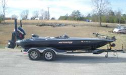 Every bass boat trick in the book, wrapped in a 250horsepower rated, composite construction, race-honed Stinson hull. Dual rod boxes line huge, padded casting decks. Lockable LED-lit dry storage with tackle management system, shock-mitigating custom