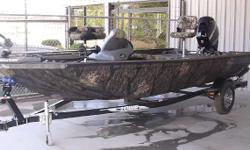 NEW MODEL THIS IS A NEW MODEL FOR 2012. IT IS A 175 STINGER CAMO. IT INCLUDES ALL OF THE GREAT FEATURES OF THE STINGER MODEL BUT INCLUDES A SPRAY-IN LINER AND CAMO PAINT. THIS IS THE PERFECT BOAT FOR THOSE WHO MIGHT HUNT OR JUST WANT AN EASY TO CLEAN