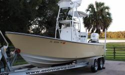WEST COAST RIGGED,  FULL FOLDING TOWER WITH CONTROLS, 250 Evinrude LOW HOURS (387) with Jack Plate Forward Bow cushions with Spray Hood Garmin color GPS, VHF Radio, Lenco  Trim Tabs, Power  Pole, Fusion Stereo, Lenco Trim Tabs, 2 Livewells,