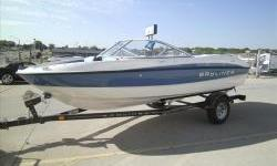 Clearance Model!2012 Bayliner 185 Sport Blue with Mercruiser 3.0L 135hp I/O with matching Karavan single axle trailer with brakes and swing tongue. Package includes extended swim platform, stereo with MP3, snap-on covers, bimini suntop, full sunpad,