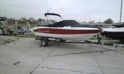 Deal Pending!Clearance Model!2012 Bayliner 185 Sport Red with Mercruiser 3.0L 135hp I/O with matching Karavan single axle trailer with brakes and swing tongue. Package includes extended swim platform, stereo with MP3, snap-on covers, bimini suntop, full