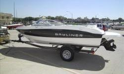 Clearance Model!2012 Bayliner 185 Sport Black with Mercruiser 3.0L 135hp I/O with matching Karavan single axle trailer with brakes and swing tongue. Package includes extended swim platform, stereo with MP3, snap-on covers, bimini suntop, full sunpad,
