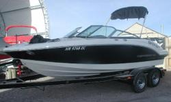 Beautiful Chaparral, Black wide panel gel coat, 5.0L MPI Mercuriser, Alpha drive, SS prop, Convenience and Premium package options, Factory mooring cover, snap in carpet. Randalls VIP custom tandem axle trailer, always stored indoors. Very clean, no