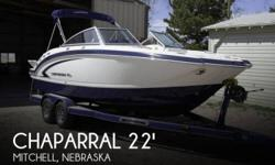 "Actual Location: Mitchell, NE - Stock #058777 - CHAPARRAL QUALITY & OWNER SAY'S ONLY ""19 HOURS"" ""EXCELLENT CONDITION"" & ONLY USED IN ""FRESHWATER"".....!!!There are deck-boats, and there are bow-riders, and Chaparral's 224 Sunesta blurs the line somewhat"