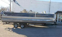 2012 Cypress Cay Angler 220 pontoon equipped with Mercury 90 hp 4 stroke outboard motor. Boat includes bimini top, wind guides, rear ladder, livewell, Lowrance Elite 4 depth finder @ dash, radio, rear fishing station, and tandem axle trailer with brakes.