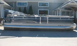 Mercury 60 hp 4 stroke Nice clean pontoon in very good condition. Equipped rear swim ladder, am fm cd, vinyl floor, depth finder, in helm sink / ice holder, individual seat covers, bimini and a mooring cover. Nominal Length: 25' Length Overall: 25' Beam: