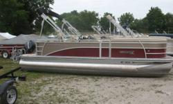 Nice sharp pontoon! Dual rear facing lounger, rear swim ladder, am fm cd,  hummingbird fish / depth finder, bimini and a mooring cover, Nominal Length: 22' Stock number: N/A