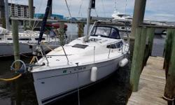 Price Reduced! Nina is Amazing!  Just move aboard and go!   This Hunter 2012 E33 is a boat for our time; from Its sleek hull, modern deck with flush hatches and large side windows, 7/8 fractural rig and extended cockpit makes this boat fast and