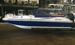 We are pleased to offer this 2012 Hurricane SDS 211 deck boat. She is powered by a 4 stroke Yamaha 150hp with approximately 50 hours on it. Options include a Garmin 531S gps, docking lights, Fusion marine stereo, snap in cockpit carpet, bimini top, bow