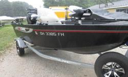 This Boat includes a Mercury 60 ELPT 4-strk engine. Livewell, rod box, Galvanized Karavan trailer with spare tire and mount. 4 fishing seats and is rated for up to 6 persons. Price: $12,999 WR11T1025C Nominal Length: 16.5' Length Overall: