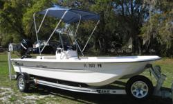 This COMPLETE boat, motor, and trailer package includes all of the standard features on the Mako Pro 17 Skiff, plus these notable options: Mercury ELPT 60 4 stroke, Bimini Top, Full Cover, Livewell, and GPS/Fish Finder, and Galvanized Trailer. This boat