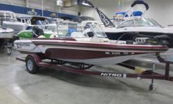 Great combination of fishability, performance, comfort and affordability! Catch this 2012 Nitro Z- Sport, powered by a 150 HP Mercury OptiMax with 150 fresh-water hours, plus featuring a MinnKota Fortrex 80lb thrust trolling motor. Also includes matching