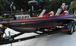 This Ranger bass boat is equipped with a Minn Kota trolling motor with Lowrance depth finder. Also includes Lowrance depth finder on dash. This Z520 carries a 250 Mercury outboard a black ranger trailer is also included. Nominal Length: 20' Length