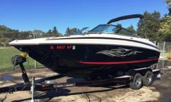 This boat is equipped with a Mercruiser 350 Mag MPI B3, (188 hours), Ez Loader tandem axle trailer, brakes, swing tongue, spare tire, bow cover, cockpit cover, bimini top, portable head, cockpit table, extended swim platform, retractable tie downs, flip
