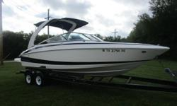 White w/ Black Accent Graphics, Volvo V8-300HP Fuel Injected Engine, 93 Hours, Dual Stainless Steel Prop Drive, Forward Facing Arch w/ Bimini Top, Extended Swim Platform, Walk-thru Transom w/ Filler Cushions, U-shaped Cockpit Seating, Battery Cut-off