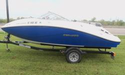 ONLY 18 HOURS ON THIS LIKE NEW BOAT. WITH 4 STROKE ROTEX ENGINE, JET DRIVE.SEATS 8 PERSONS . HAS MARINE STEREO WITH AUX INPUT , BIMINI TOP , FACTORY CUSTOM FIT FULL BOAT COVER , SEA-DOO CUSTOM DRIVE-ON TRAILER WITH FOLD AWAY TONGUE INCLUDED. THIS BOAT IS