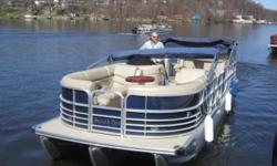 Pre-owned 2012 South Bay 27ft entertainment pontoon with Mercury 115hp Four Stroke and trailer. Includes South Bay 2.75 third pontoon for added stability, better ride and flotation. This is a well cared for fresh water only boat that has been
