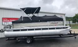 THE GREAT OUTDOORS MARINE - THE FUN STARTS HERE! 2012 SWEETWATER SUNRISE 206C 2012 HONDA 50HP 4-STROKE OUTBOARD 2012 TENNESSEE SINGLE AXLE TRAILER 2 bow couches 1 L-lounge 1 moveable cup holder Removable table Pop-up changing room w/ privacy curtain