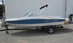 2013 Bayliner 185 BR equipped with Mercruiser 3.0L 135 hp inboard/outboard motor. Boat includes bimini top, snap cover, extended swim platform, rear ladder, radio with 2 speakers, tilt wheel, swivel captain chair, and single axle trailer with swing tongue
