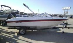 New Model! 2013 Bayliner 180OB bowrider with Mercury four stroke 115hp EFI and matching Karavan single axle trailer with swing tongue. Package includes preferred equipment package options, ski tow pylon, snap-on covers, stereo with MP3 plug, and bimini