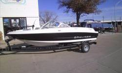 2013 Bayliner 170OB Fish pkg with Mercury four stroke 115hp EFI and matching Karavan single axle bunk trailer with swing tongue. Package includes Fish package with Motorguide 12V trolling motor, dash fish finder, livewell, rod storage , convertible
