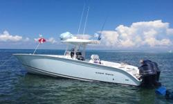 FOR QUESTIONS CONTACT: KRIS 727-433-1056 or krisfred73@gmail.com 2013 36 Cape Horn Ice Blue Hull/white bottom/black boot stripe. Triple Yamaha 300 Four Strokes with warranty through 3-2018. Current hours approx. 322. Slow cruise 23 knots at 1.5MPG, fast