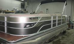 50 hp Mercury 4 stroke EFI Nice clean pontoon.Options Include FullTeak Vinyl Floor,rearswim ladder,double widerear facing lounge, Bluetooth Stereo with MP3 and USB input, Indash GPS fishfinder, Stainless SteelSki Tow