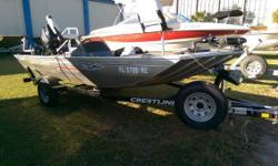 Engine Warranty till Sept 2108! Lots of extras. Includes Lowrance Elite 4 on Console, Lowrance X4 on Bow, Mooring Cover, Spare Tire, Two gas tanks, Dual Battery Charger, Motor Guide 46lb 12V Foot Control Trolling Motor, Swing Away Trailer