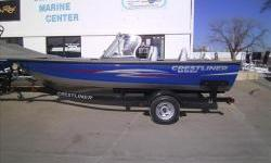 2013 Crestliner 1850 FishHawk WT full windshield with Mercury four stroke 115hp EFI motor and matching Shorelandr single axle bunk trailer with brakes, swing tongue, load guides, and spare tire. Package includes Contender package options with