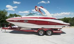"""2013 Crownline E 4 bow rider with matching Heritage trailer with a Mercruiser 350 Mag / 300 hp and Bravo III outdrive. LOA: 24'6"""" / Beam: 8'6"""" / Weight: 5,200 pounds / Colr: White & Red / Hours: 200 One owner 2013 Crownline E 4 bow rider with matching"""