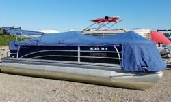 2013 Harris 220 Solstice with 50ELPT EFI four stroke big foot Mercury. Options include black sapphire graphics, dual lounger floor plan, upgraded steering wheel, stainless steel flip up cleats, portable cupholder, quick release fender system, rope